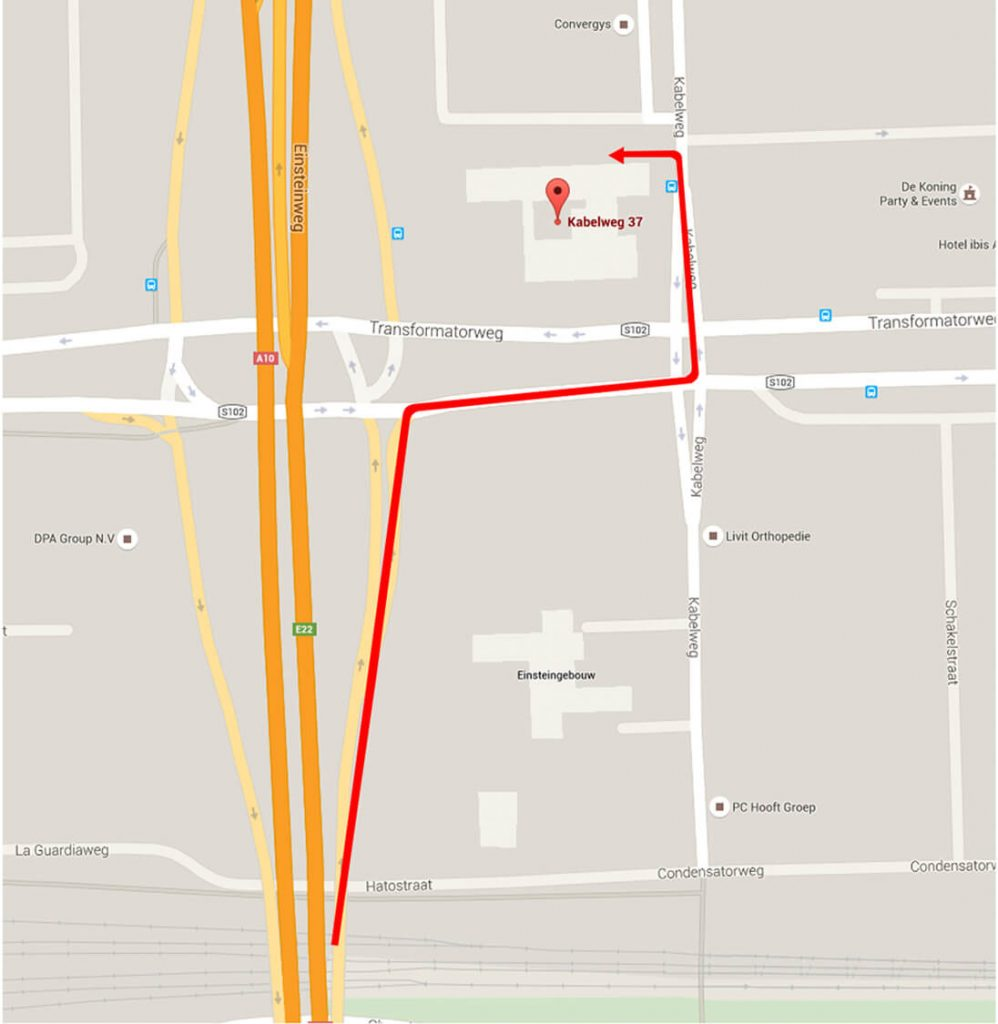 Afbeelding met routebeschrijving vanaf a10